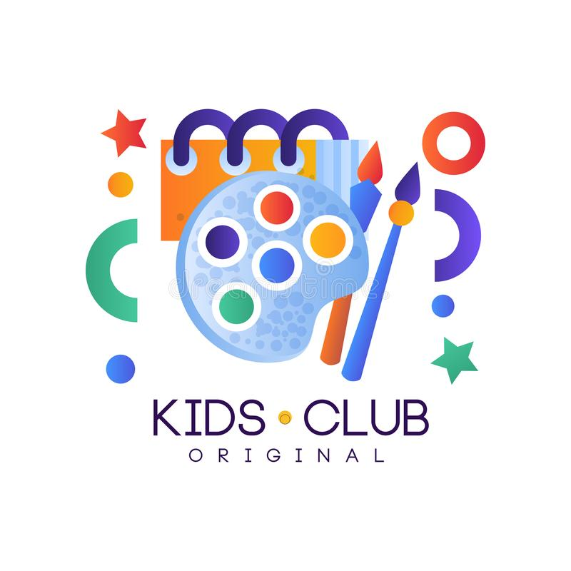 Kids club logo, colorful creative label template, playground, entertainment or science education curricular club badge vector illustration