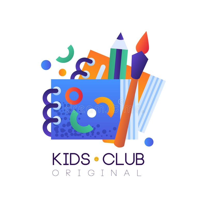 Kids club logo original, creative label template, science education curricular club badge vector Illustration on a white vector illustration