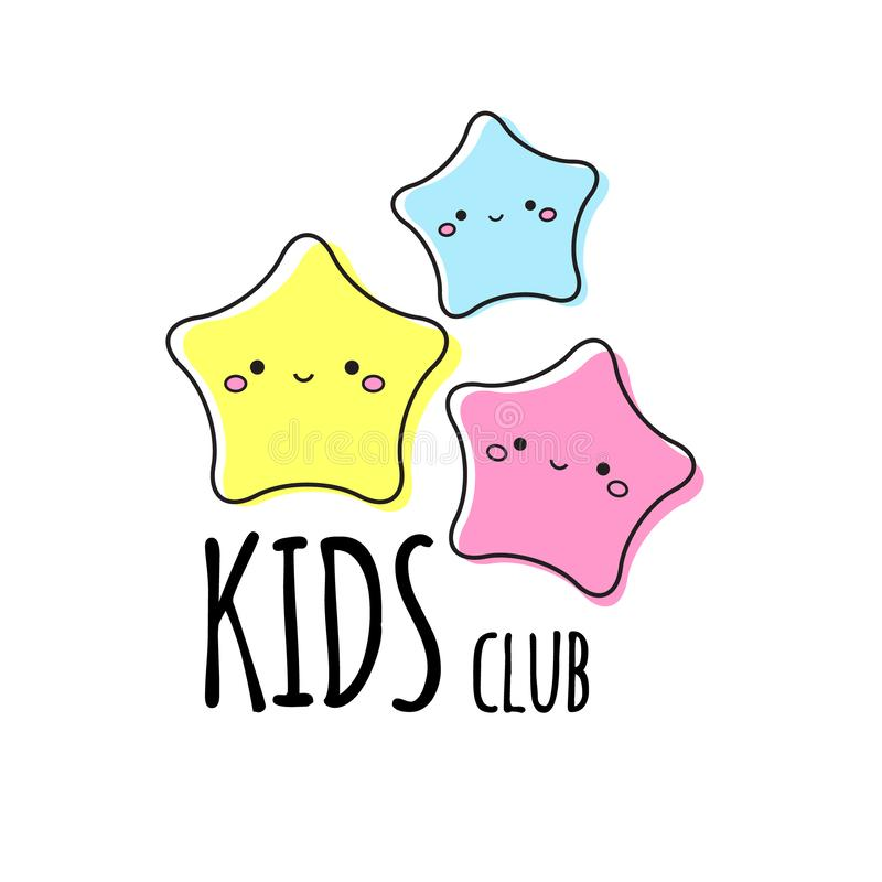 Kids club logo template. Three cute stars. Sign, label for children design vector illustration