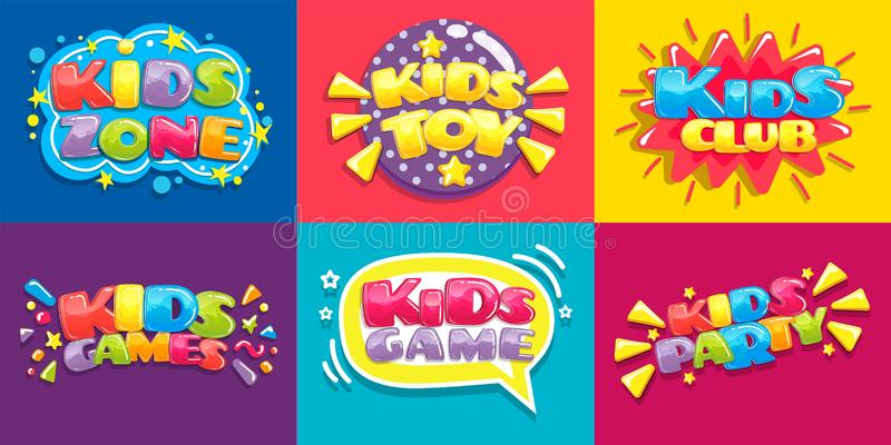 Kids club posters. Toys fun playing zone, children games party and play area poster vector illustration set. Kids club posters. Toys fun playing zone, children royalty free illustration