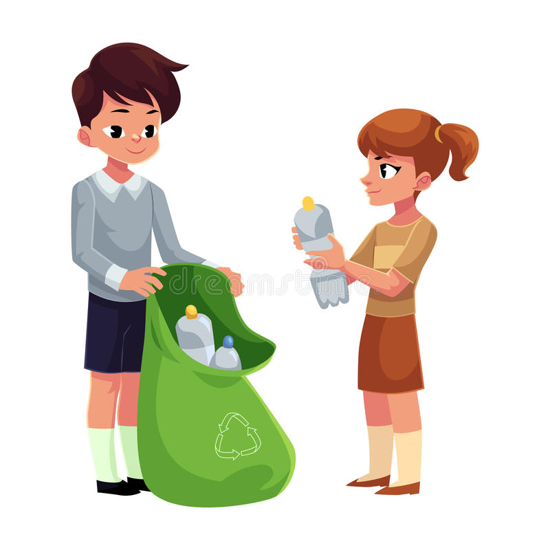 Free Kids Collect Plastic Bottles Into Garbage Bag, Waste Recycling Concept Stock Photos - 93881173