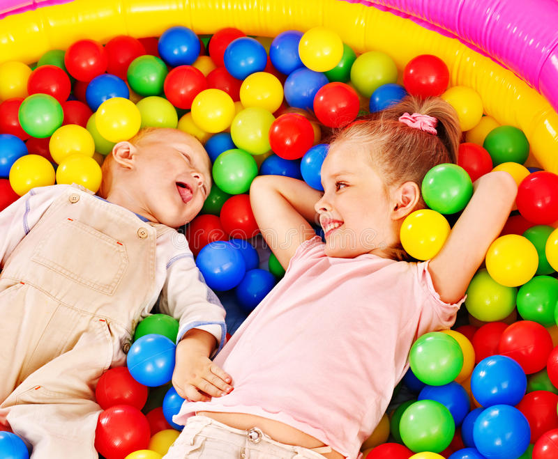 Download Kids in colored ball. stock photo. Image of caucasian - 26671700