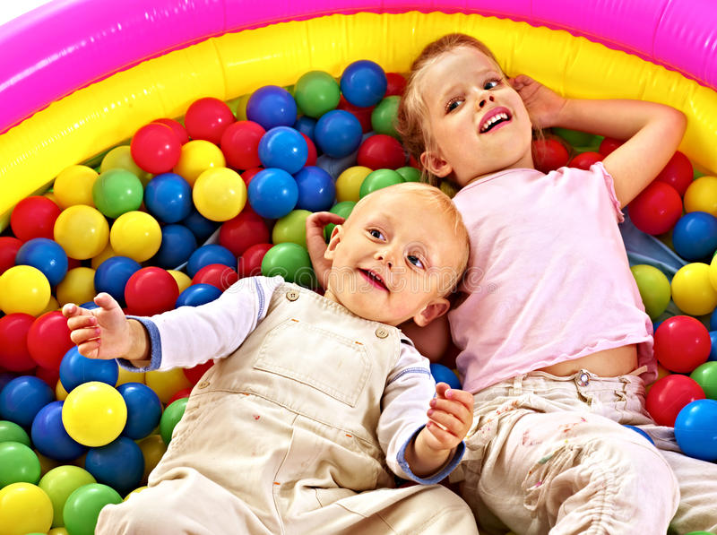 Download Kids in colored ball. stock photo. Image of many, inflatable - 38714364