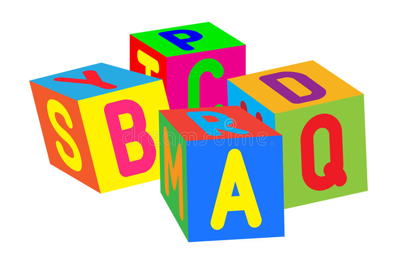 Kids colored cubes with letters. Vector illustration stock illustration