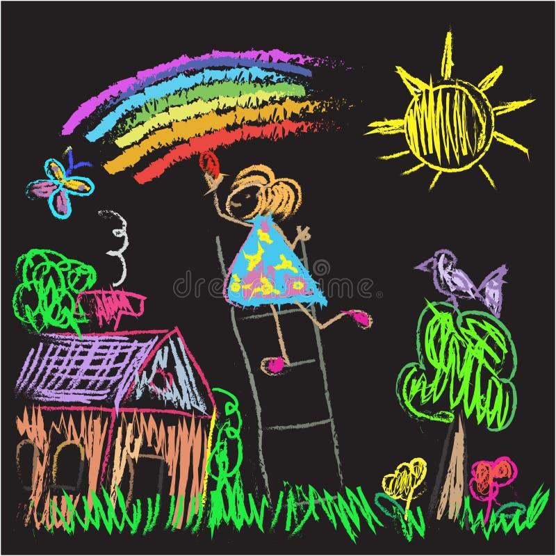 Kids Colored World doodles on blackboard stock illustration