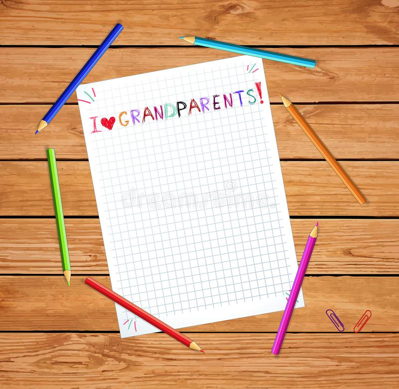 Kids colorful hand drawn vector lettering I love grandparents on notebook sheet royalty free illustration