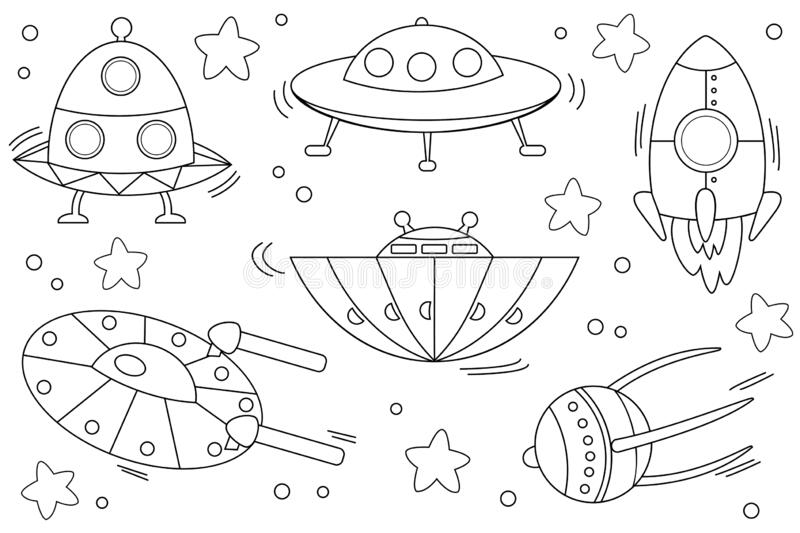 Kids Coloring Page With Spaceships Stock Vector Illustration Of Travel Background 183746596