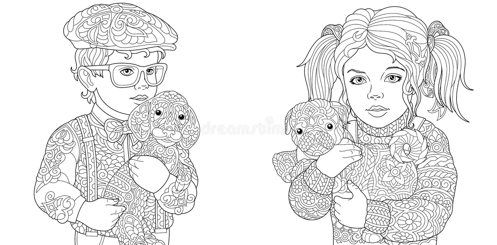 Kids. Coloring Pages. Coloring Book for adults. Colouring pictures with children holding dogs. drawn in zentangle style. Vector royalty free stock image