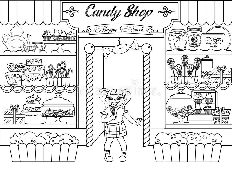 Kids coloring vector girl in candy shop. Zentangle style. Black and white line vector illustration