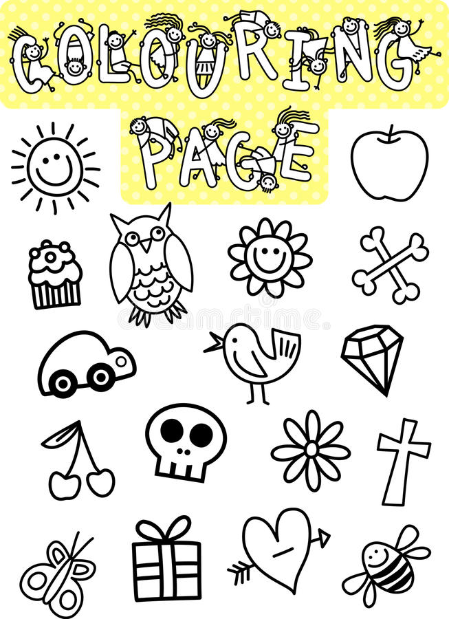 Kids Colouring Page stock illustration. Illustration of smiling ...