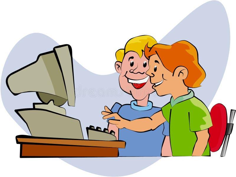 Kids at Computer. Cartoon artwork line-art vector illustration