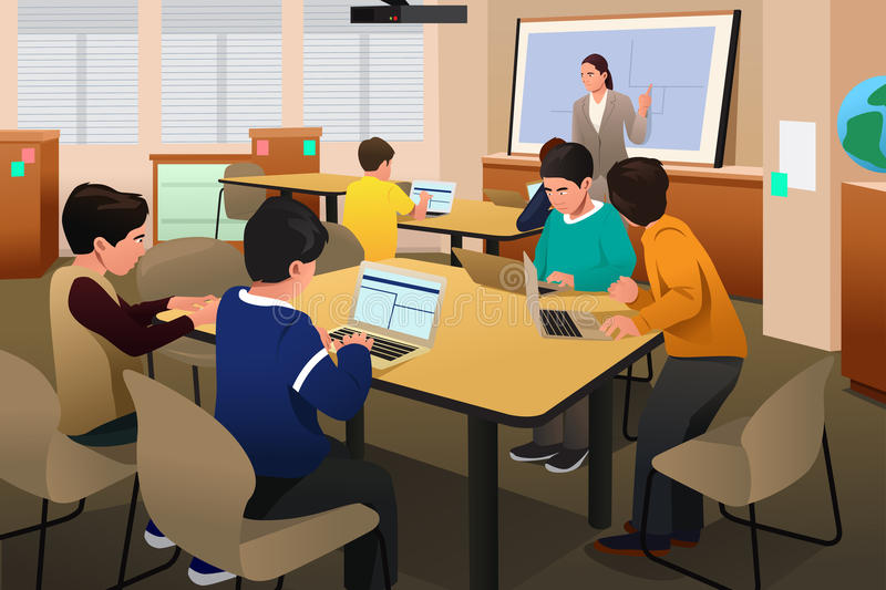 Kids in Computer Class. A vector illustration of kids in a computer programming class royalty free illustration