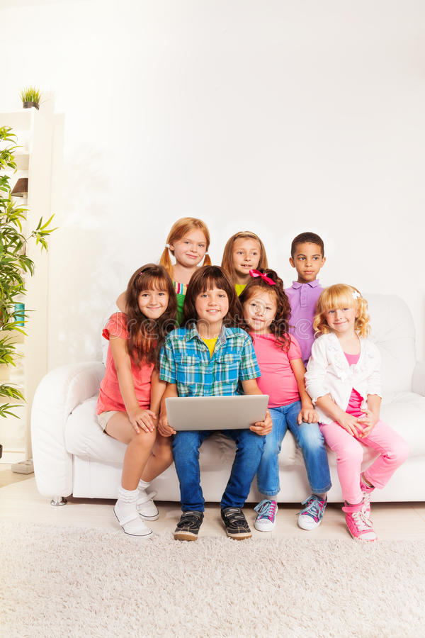 Download Kids with computer stock photo. Image of group, large - 33483826