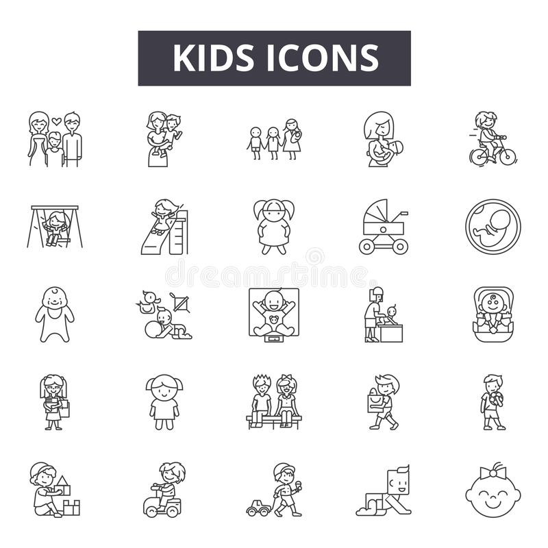 Kids concept line icons, signs, vector set, linear concept, outline illustration. Kids concept line icons, signs, vector set, outline concept, linear royalty free illustration