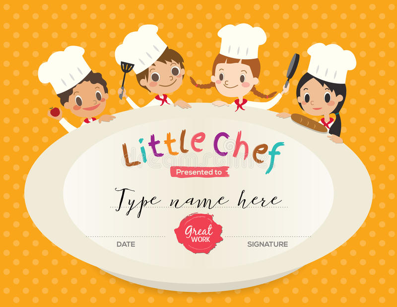 Kids Cooking class certificate design template. With little chef cartoon illustration