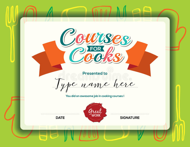 Cooking Certificate Template Endearing Kids Cooking Courses Certificate Template Stock Vector .