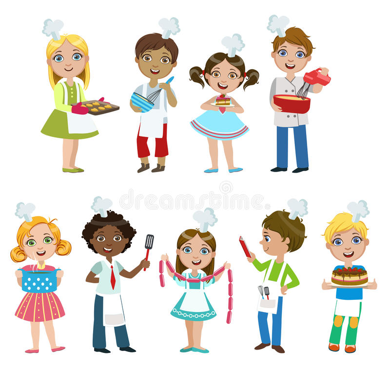 download kids on cooking lesson stock vector image of drawing 72197751 - Simple Cartoon Drawings For Kids