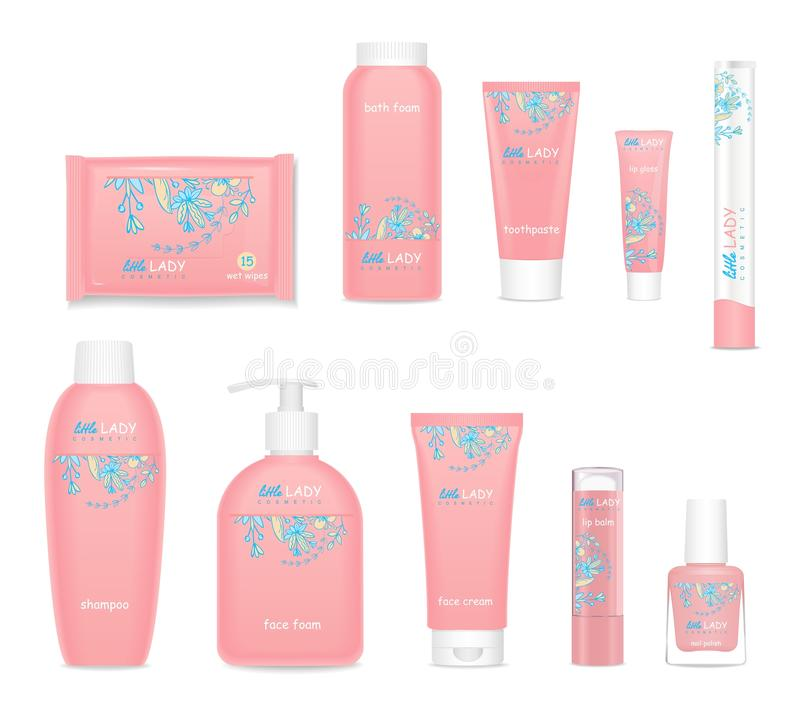 Kids cosmetic tubes with flower design. Vector stock illustration