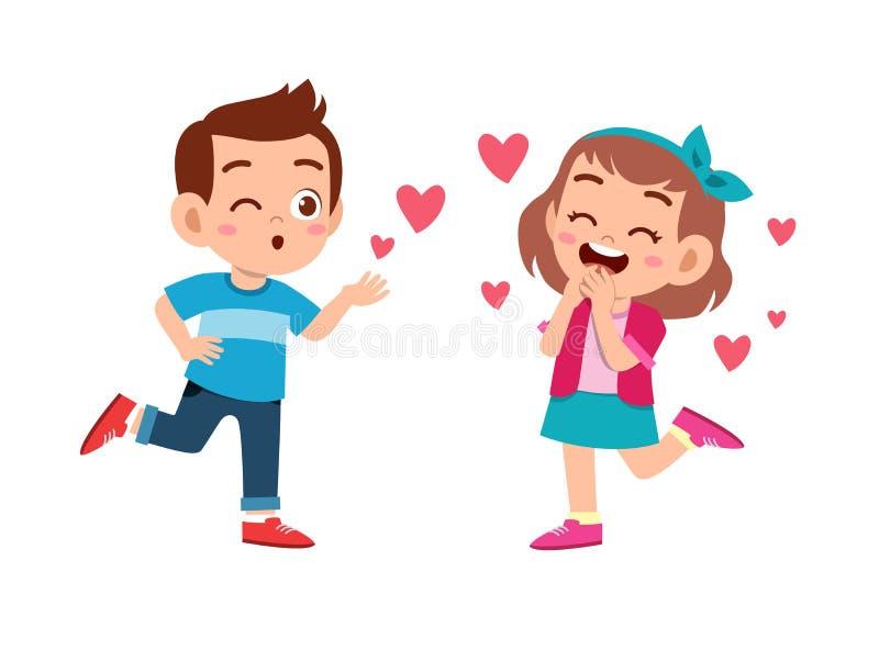kids couple in love vector illustration stock illustration
