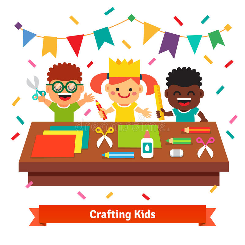 Kids crafts in kindergarten. Creative children. Crafting decorations at the table from color paper with scissors, crayons and glue. Flat vector cartoon stock illustration