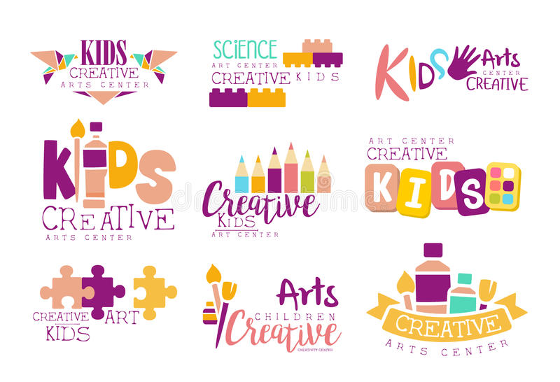 Kids Creative And Science Class Template Promotional Logo Set With Symbols Of Art and Creativity, Painting And Origami royalty free illustration