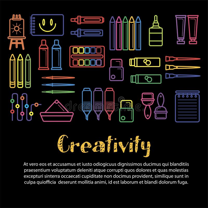 Kids creativity and art design vector poster of creative artist tools icons vector illustration