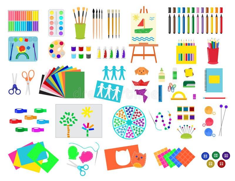Kids creativity creation symbols artistic objects for children creativity handmade work art vector illustration. stock illustration