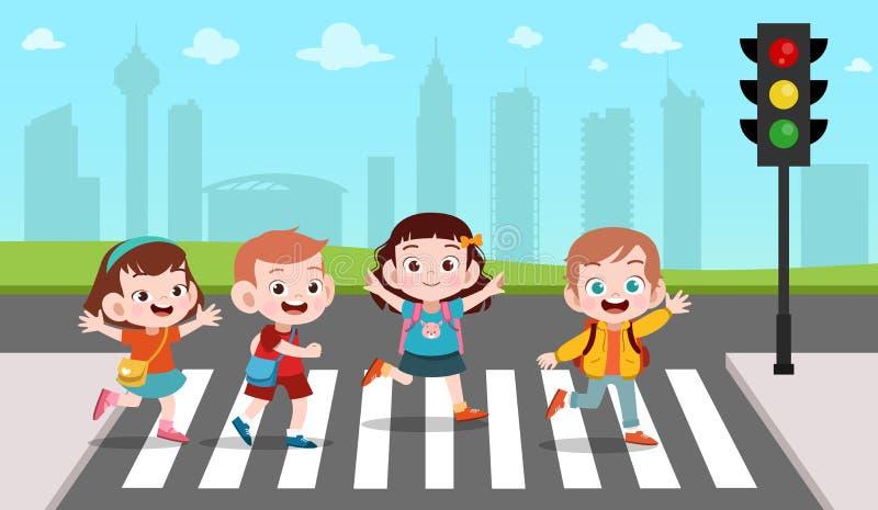Kids cross the road vector illustration. Cute, happy, children, boy, boys, girl, girls, fun, kinder, kindergarten, jump, funny, character, people, male stock illustration