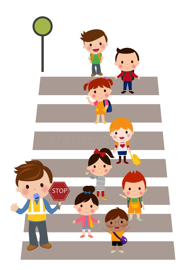 Kids Crossing the street royalty free illustration