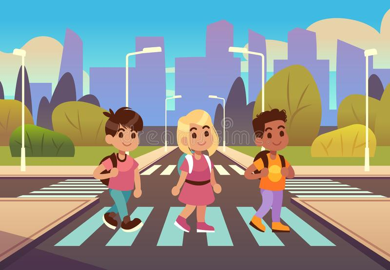 Kids crosswalk. Road safety zebra traffic light warning, students school child pedestrian sidewalk, street car urban stock illustration