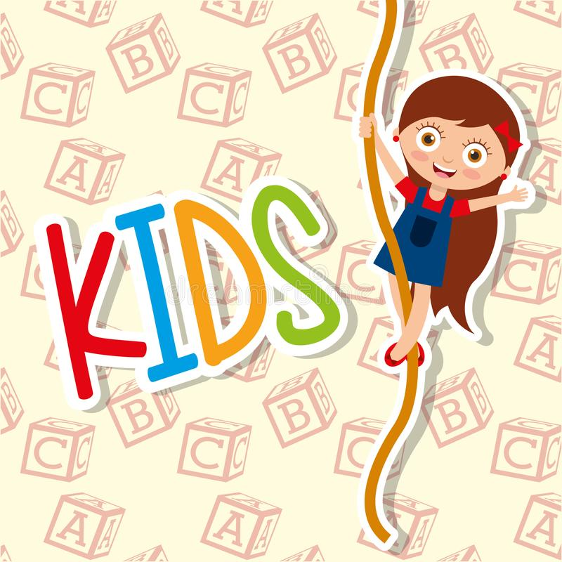 Kids cute girl climbing rope funny vector illustration