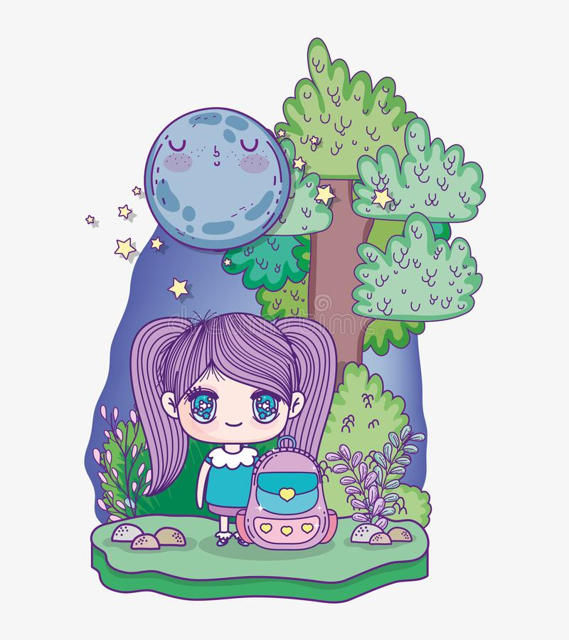 Kids, cute little girl anime cartoon with backpack tree night moon 库存例证