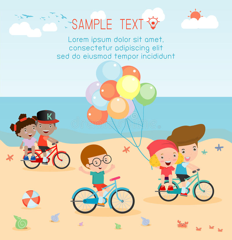 Kids cycling on the beach, kids riding bikes on beach vector illustration