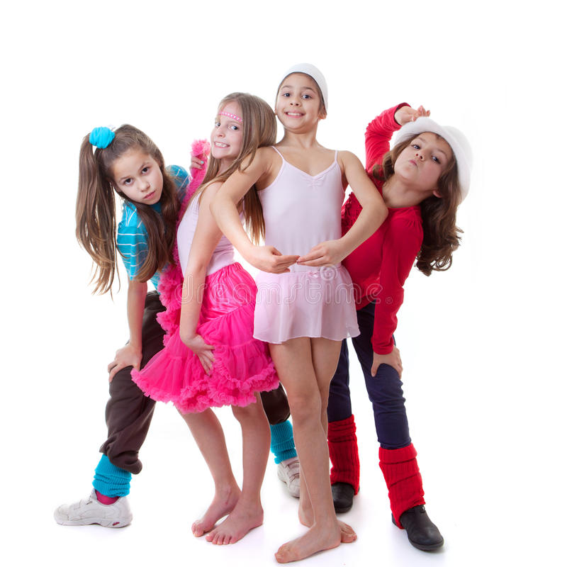 Kids dance school. Ballet, hiphop, street,funky and modern dancers royalty free stock images