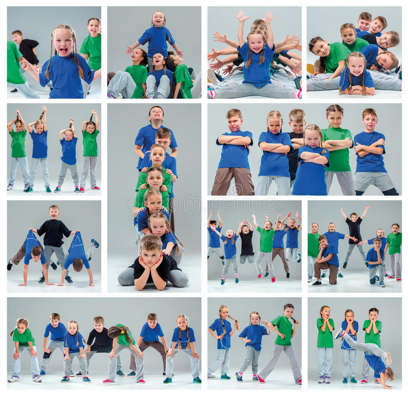 The kids dance school, ballet, hiphop, street, funky and modern dancers. On gray studio background. Collage royalty free stock photography