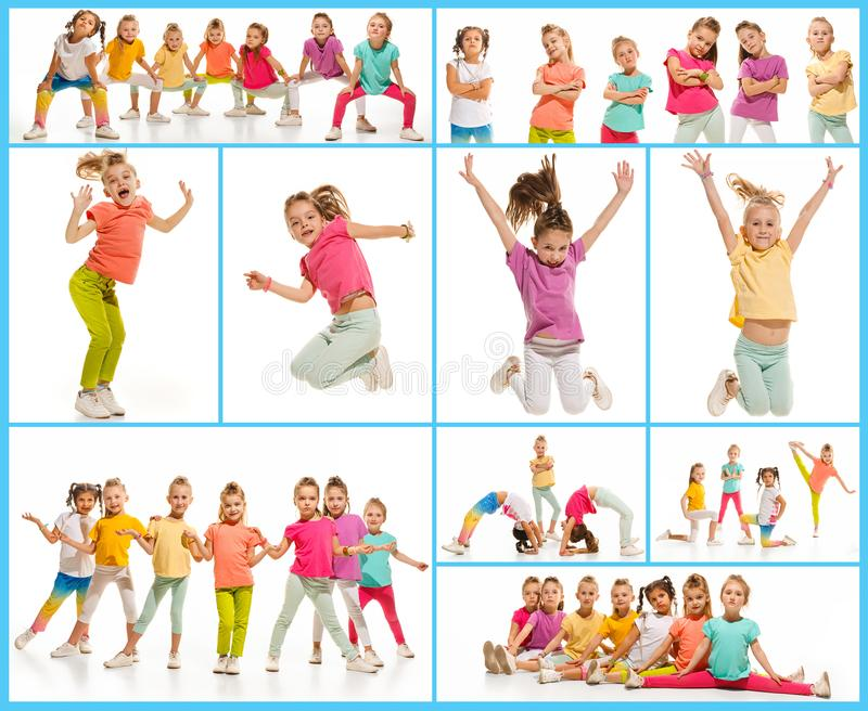 The kids dance school, ballet, hiphop, street, funky and modern dancers. On white studio background. Girl is showing aerobic and dance element. Teen in hip hop royalty free stock photos