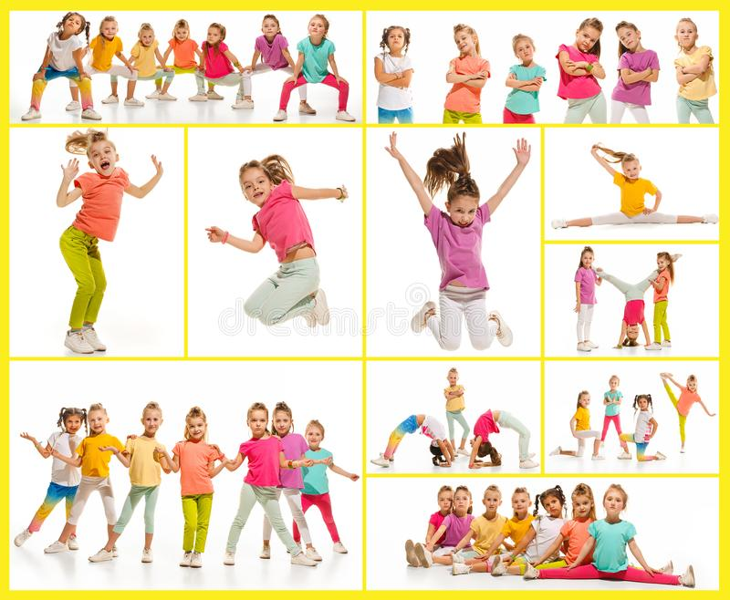 The kids dance school, ballet, hiphop, street, funky and modern dancers. On white studio background. Girl is showing aerobic and dance element. Teen in hip hop royalty free stock image