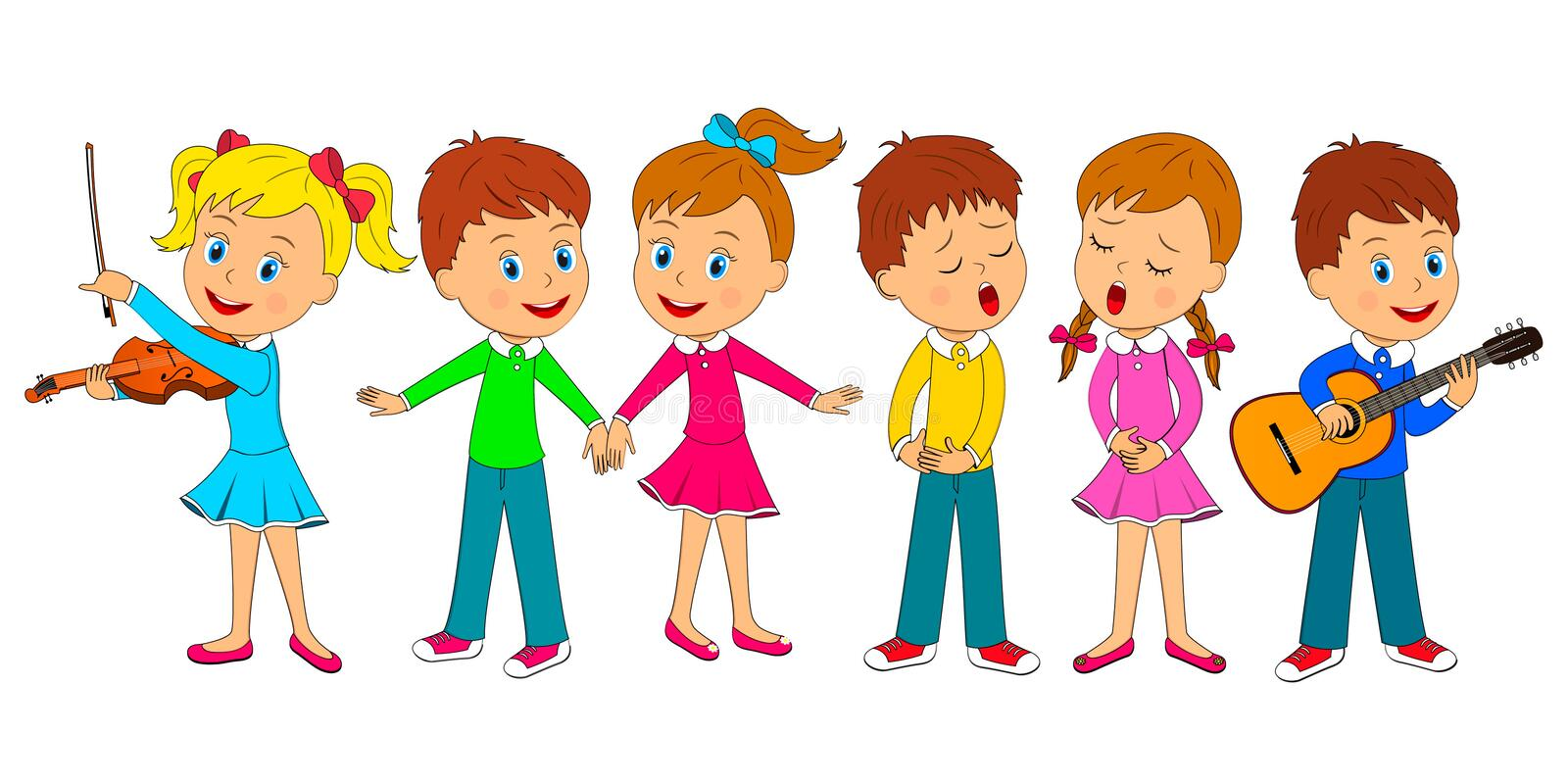 Kids dance, sing and play music vector illustration