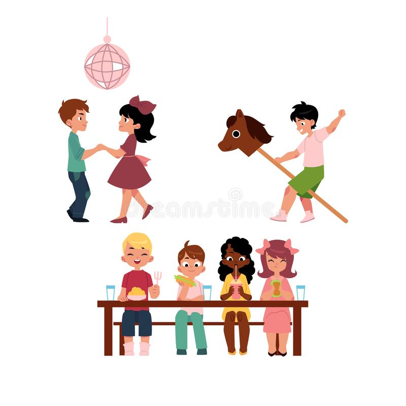 Kids dancing, eating and playing with stick horse. Kids, boys and girls, dancing, eating together and riding hobby horse, vacation in summer camp, cartoon vector vector illustration