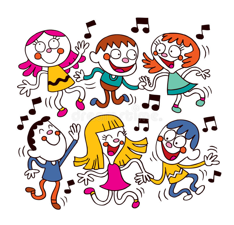 Kids dancing vector illustration
