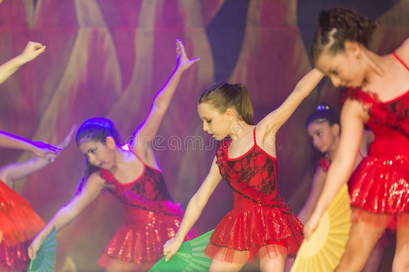 Kids dancing modern dance. In end of the year classes show in karmiel Israel. 15/7/2017 royalty free stock photo