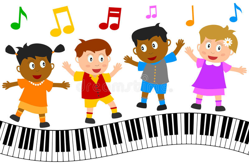 Kids Dancing on Piano Keyboard. Group of four happy multiculture kids dancing on wavy piano keyboard, isolated on white background. Eps file available