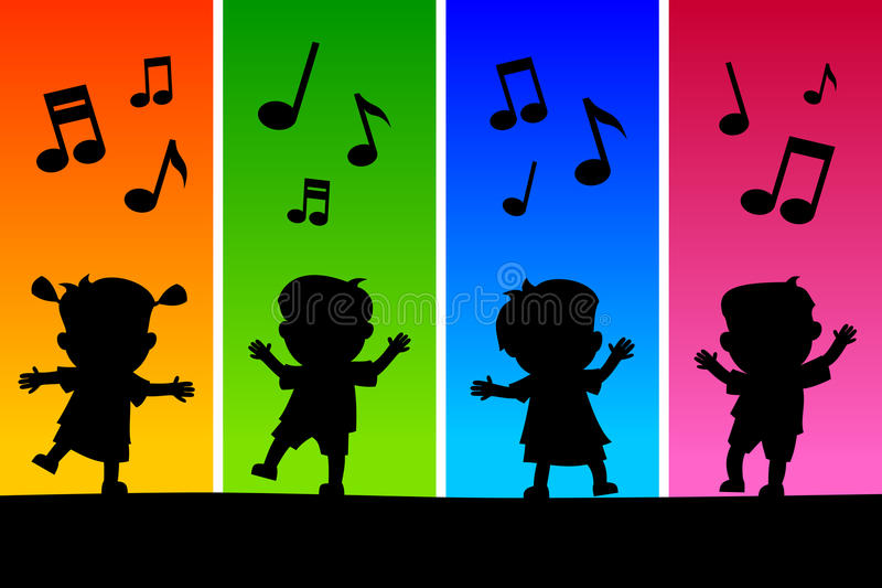 Kids Dancing Silhouettes vector illustration