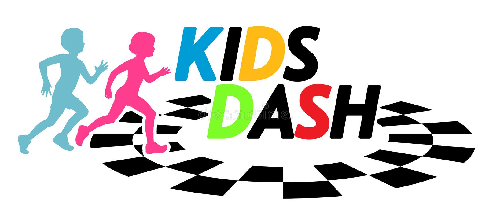 Kids Dash Race Running Event Illustration royalty free illustration