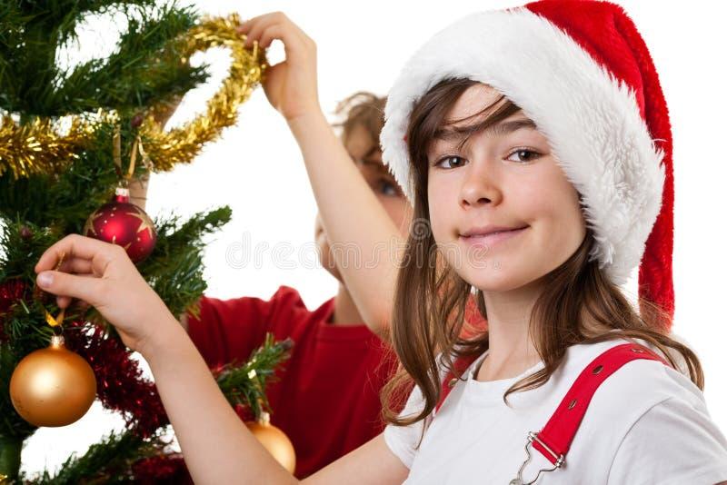 Download Kids Decorating Christmas Tree Stock Image - Image: 10842289