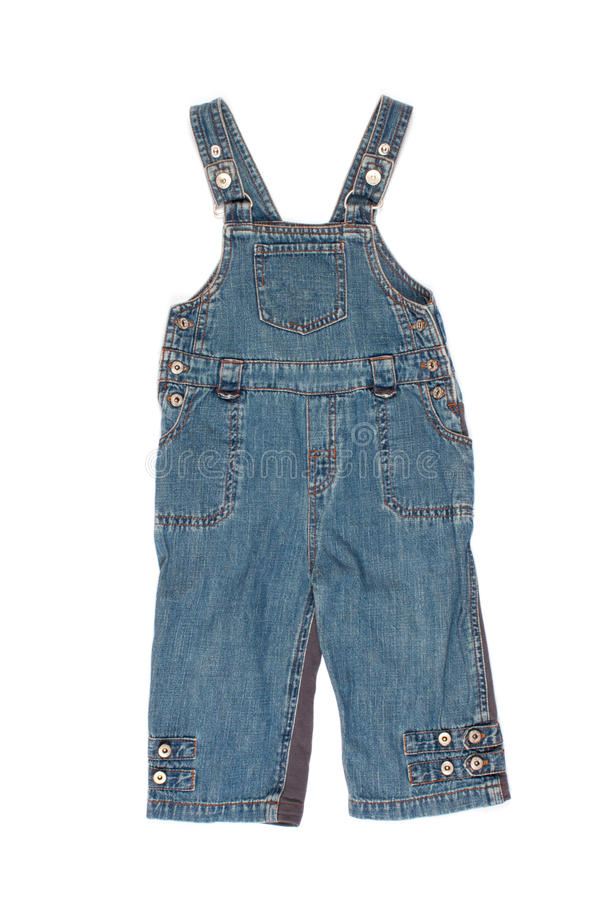 Kids denim jumpsuit pants. On a white background royalty free stock photo