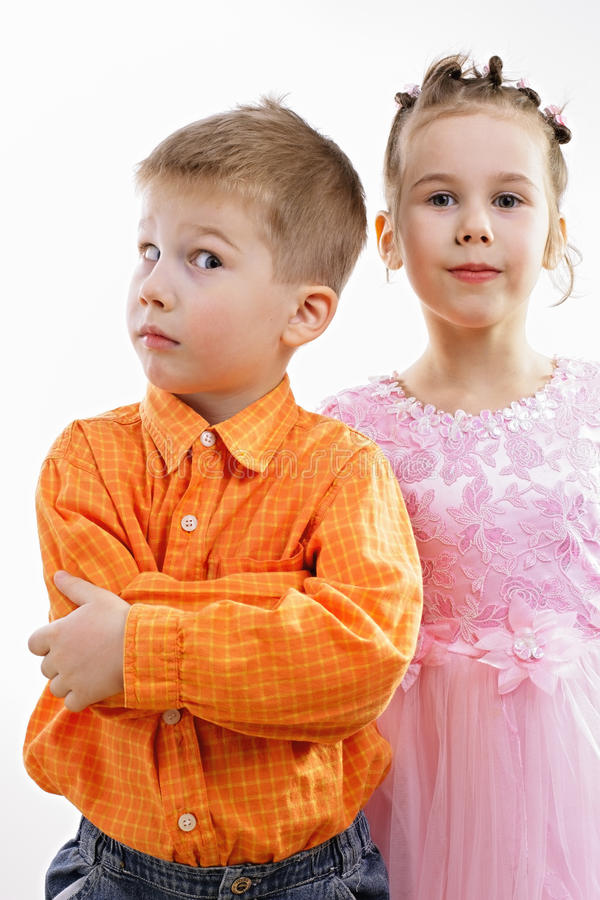 Kids depict couple stock photography
