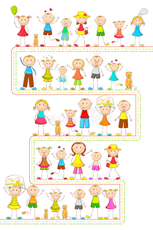 Kids in different mood royalty free illustration