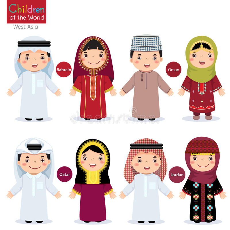Kids in different traditional costumes (Bahrain, Oman, Qatar, Jo royalty free illustration