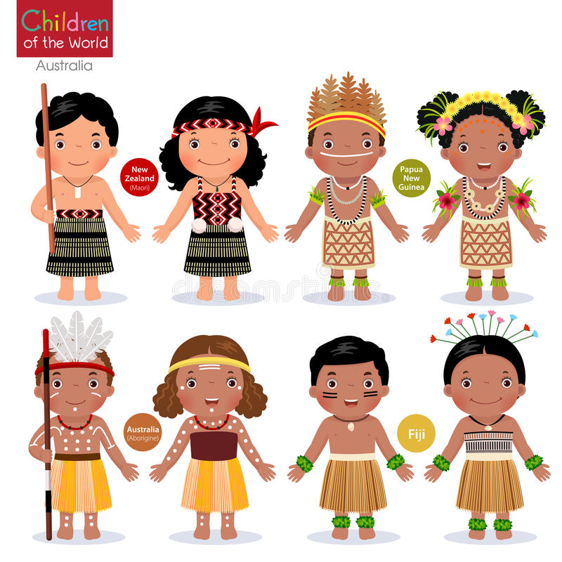 Kids in different traditional costumes. New Zealand, Papua New G vector illustration